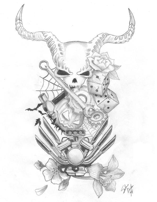 Gearhead Halloween Tattoo Design By Bluemuseart On Deviantart