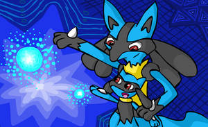 Lucario and Riolu by bronzewolf78
