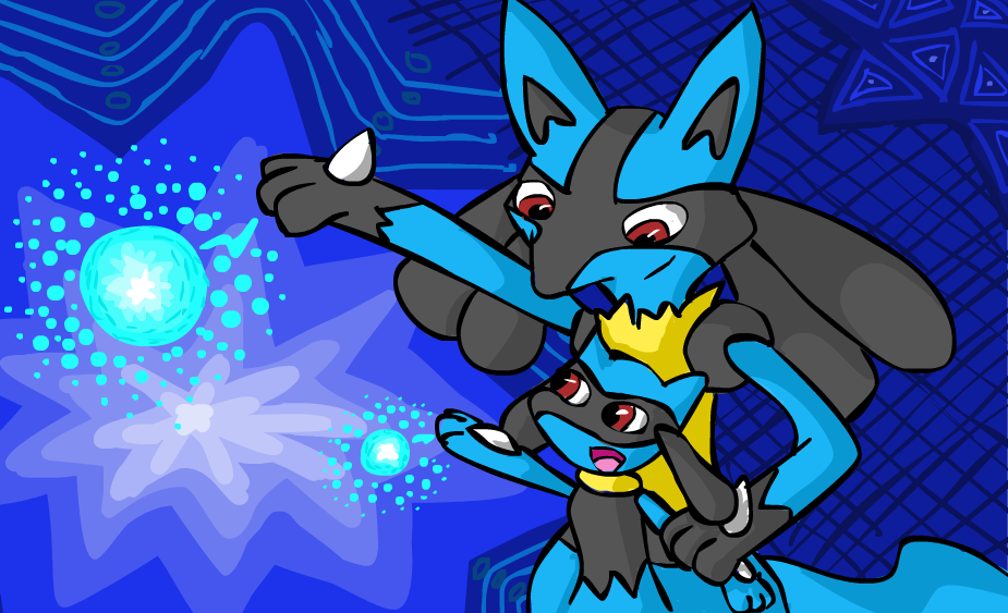 Lucario and Riolu by bronzewolf78 on DeviantArt