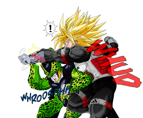 Cell hits Trunks in the stomach