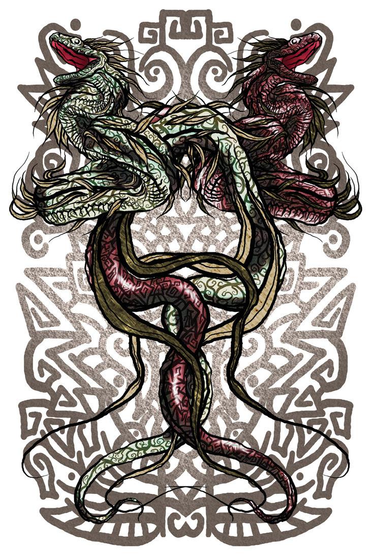 Quetzalcoatl - Tezcatlipoca by mysticnova7 on DeviantArt