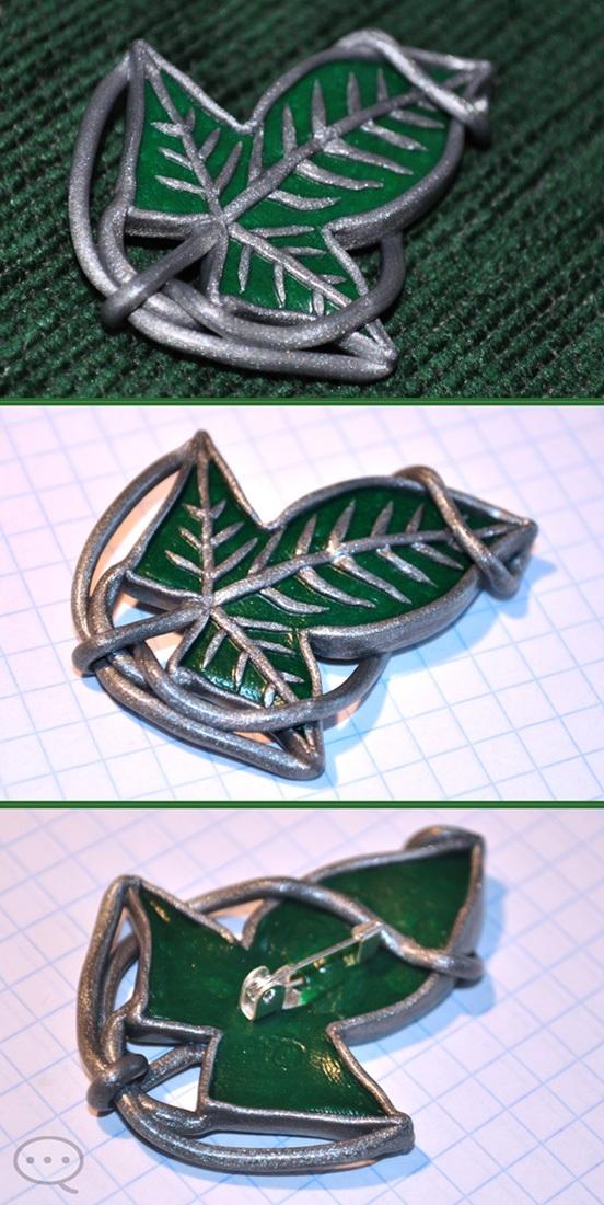 clay mallorn leaf button by cihutka123