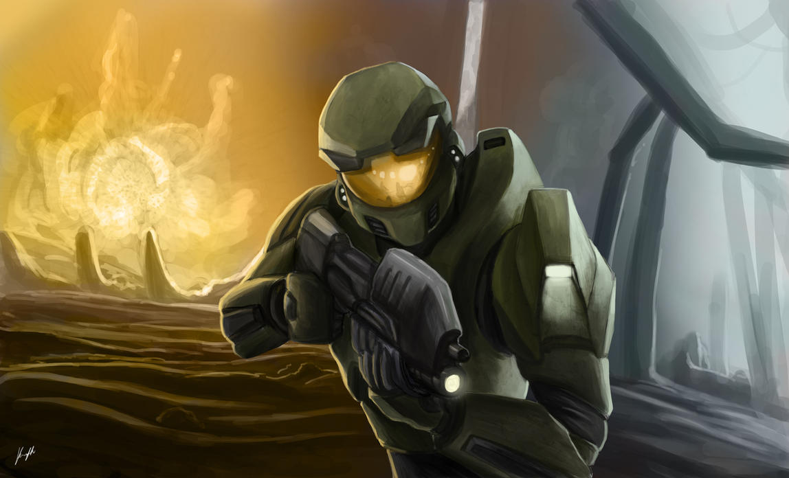 Master Chief in Action by SpartanK42