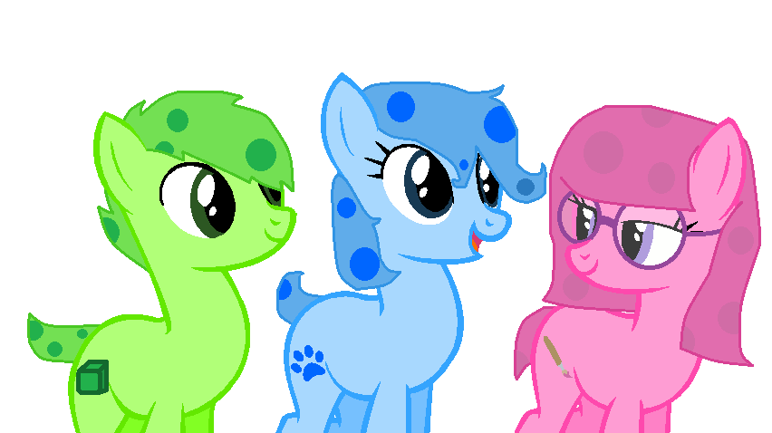 blue magenta and green puppy as ponies by thunderheart159