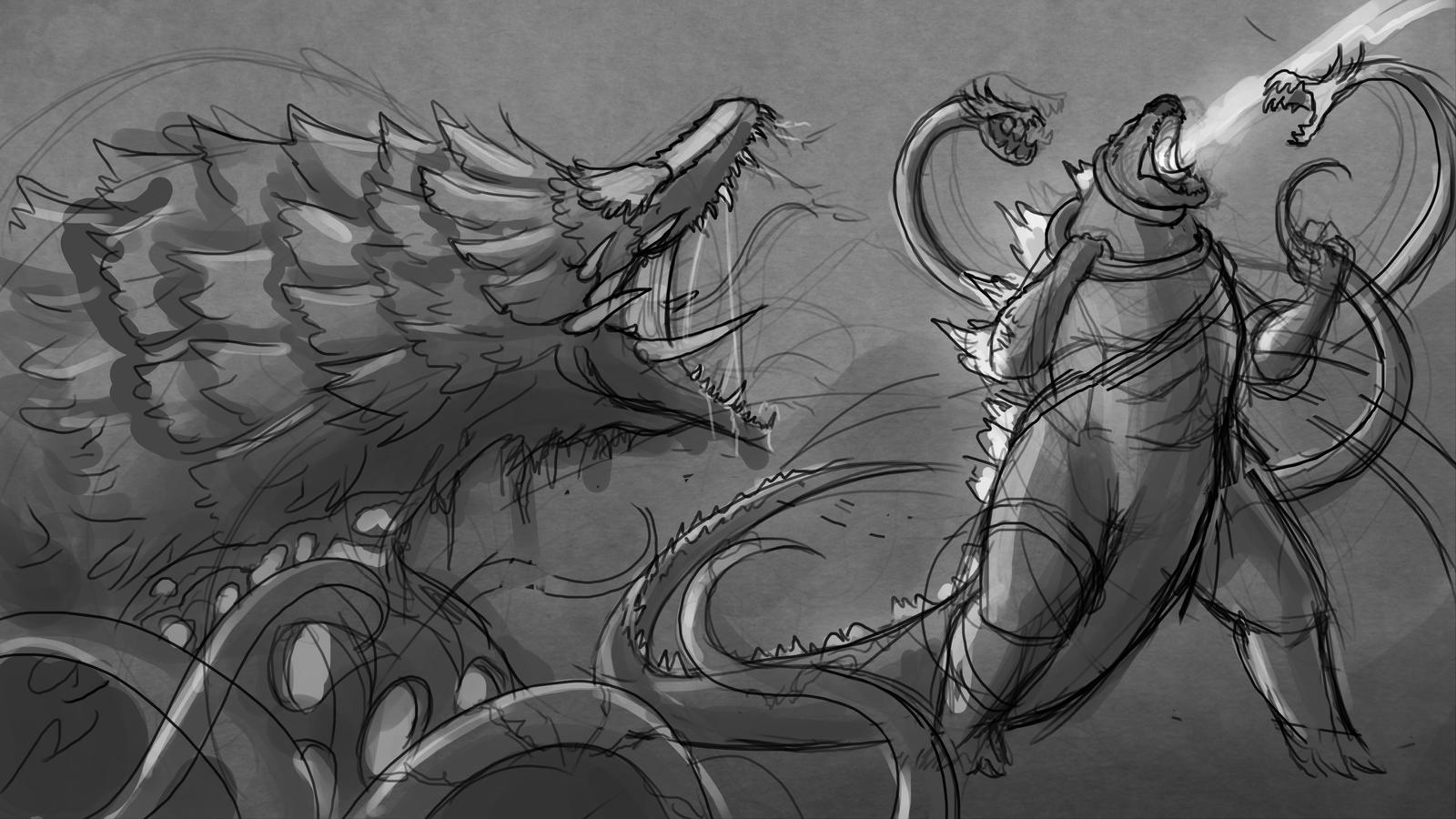 Sketch - Godzilla VS. Biollante By Sawuinhaff On DeviantArt