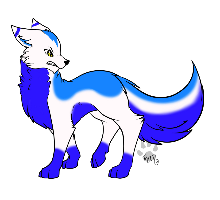 Blue angry Wolf adopt closed by RayTheBishie