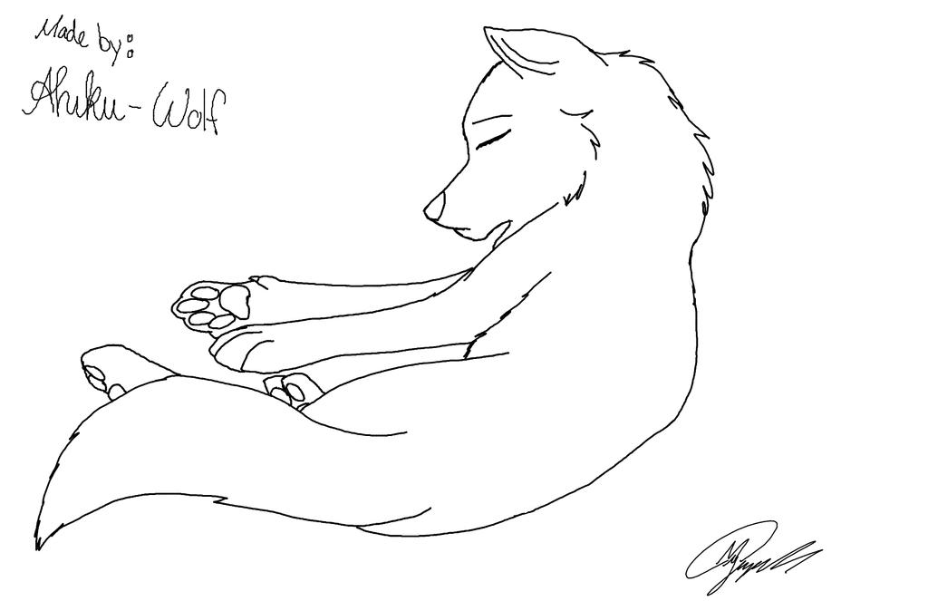 Wolf Pup Sleeping Lineart