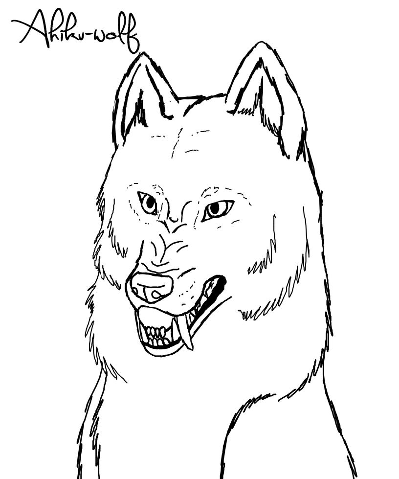Growling Wolf Lineart  Photo#7