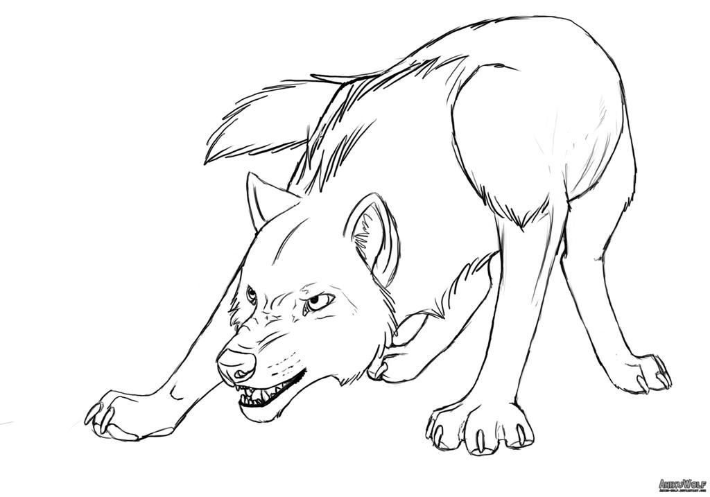 Lineart Wolf : Snarling wolf line art