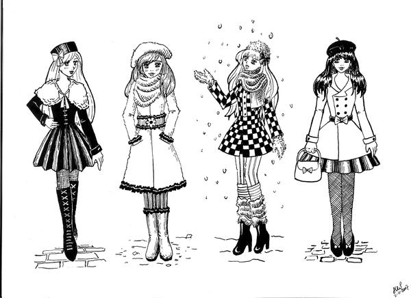 4 winter outfits by Andoien on DeviantArt