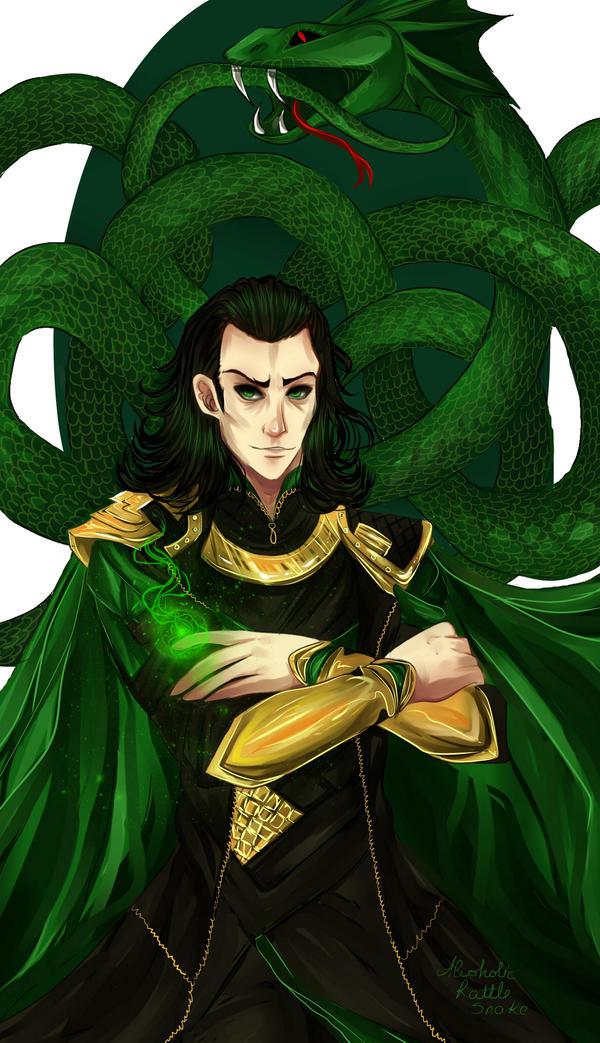 Loki and Jormungandr by AlcoholicRattleSnake