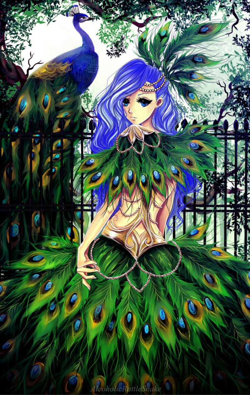 Peacock lady by AlcoholicRattleSnake