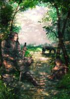 Arya and Sandor by Luciferys