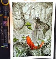 Inktober day 3: Forest by Luciferys