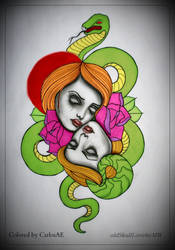 Creepy Colored Tattoo by CarlosAE
