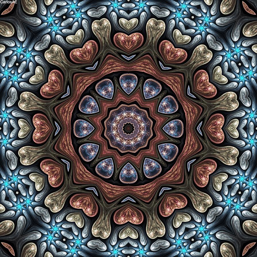 Field Fractal Petal Hearts Kaleidoscope by CarlosAE