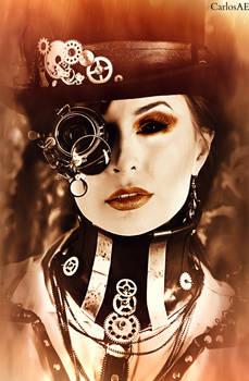 1950s Steampunk Feminine Cyborg