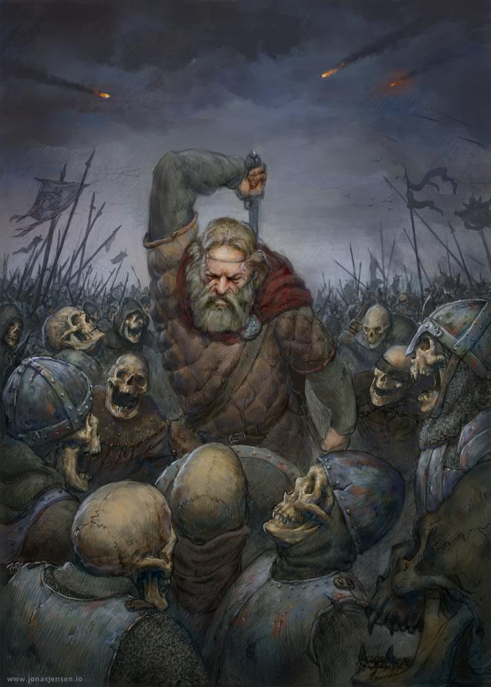 Viking vs. skeletons by JonasJensenArt