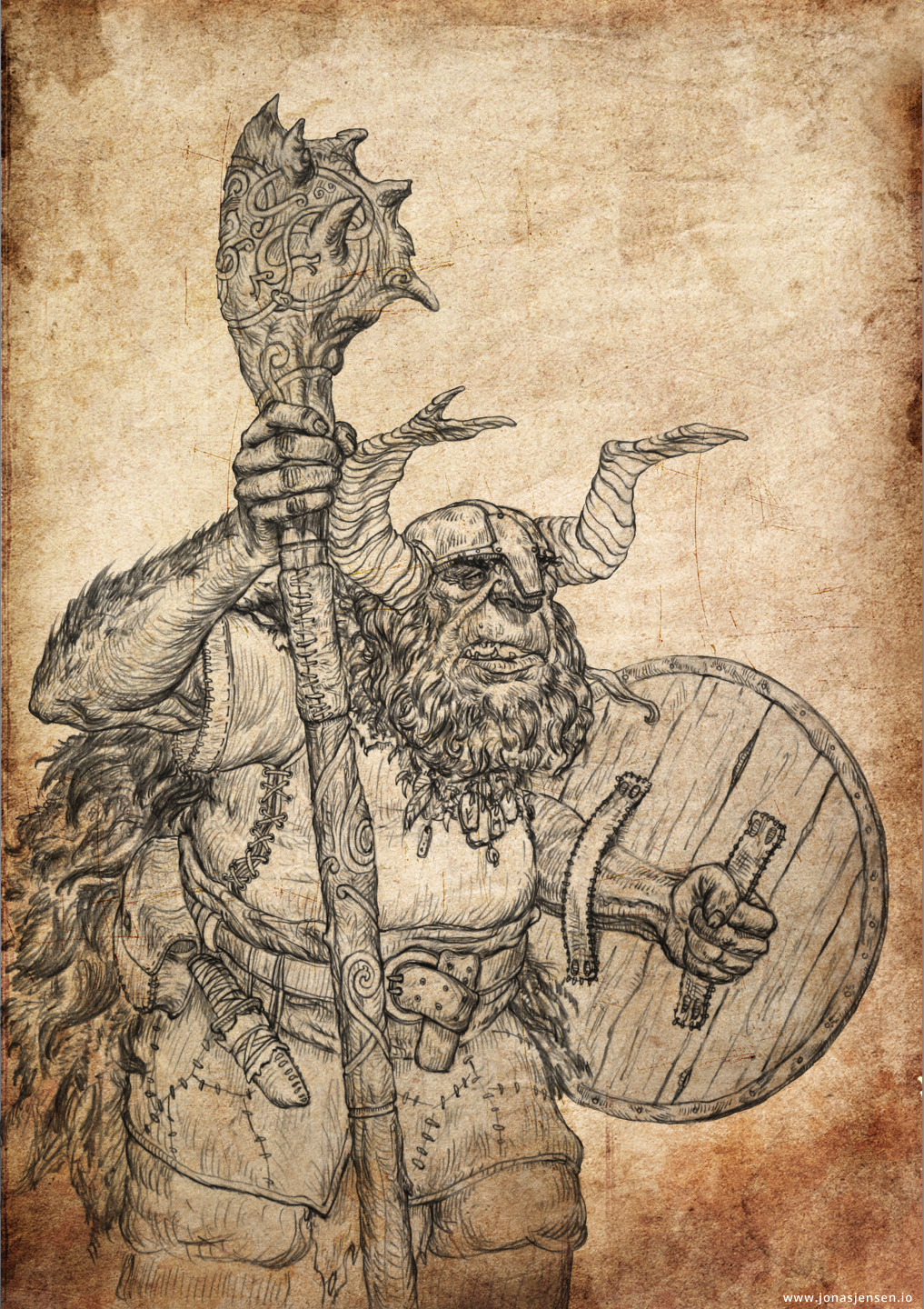 Troll Shaman - Drawing by JonasJensenArt