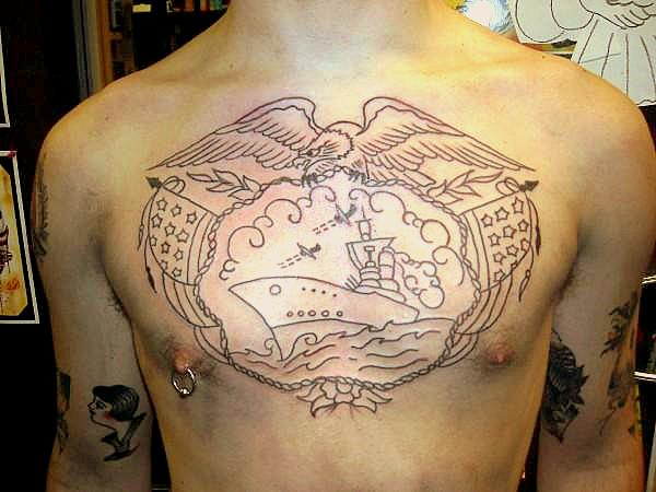 1938a4968 Traditional Chest Piece: Half - chest tattoo