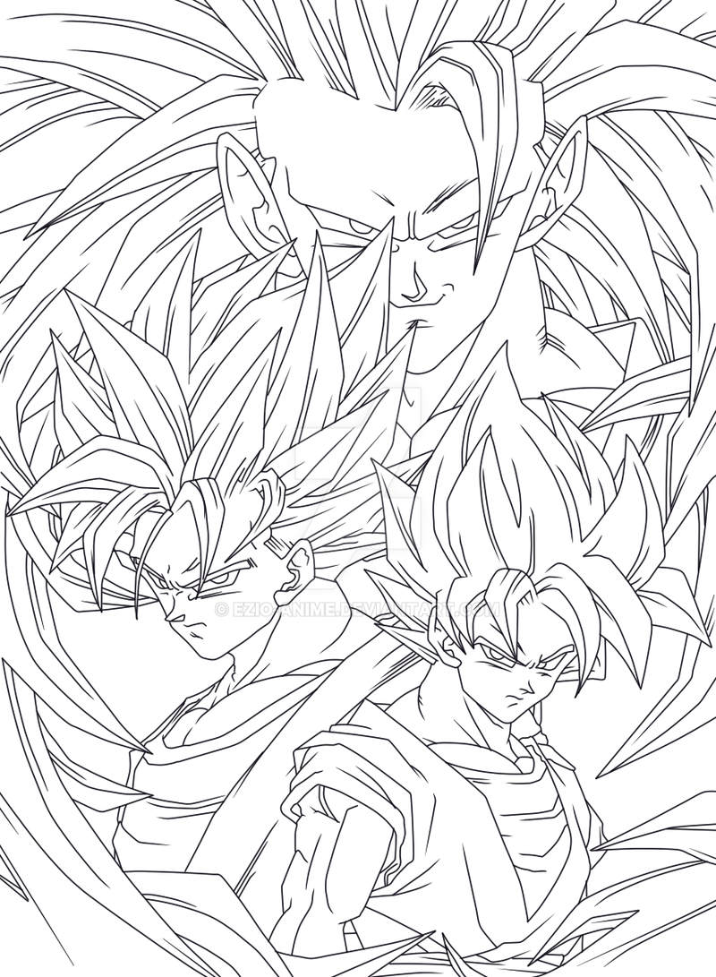 Goku 4ever Lineart By Ezio Anime On Deviantart
