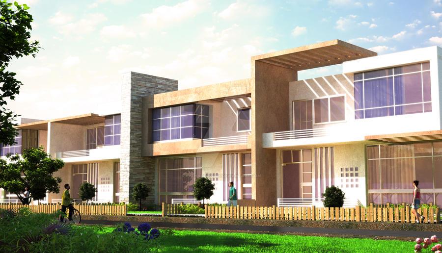 Row houses design by pythagoras86 on deviantart for Row house exterior design ideas