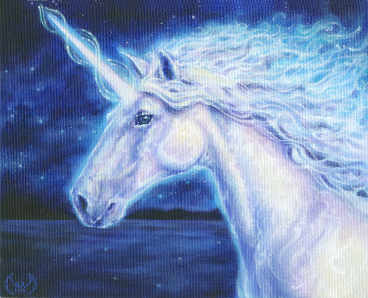 Unicorn - painting by Ka Amorastreya by serpentfeathers