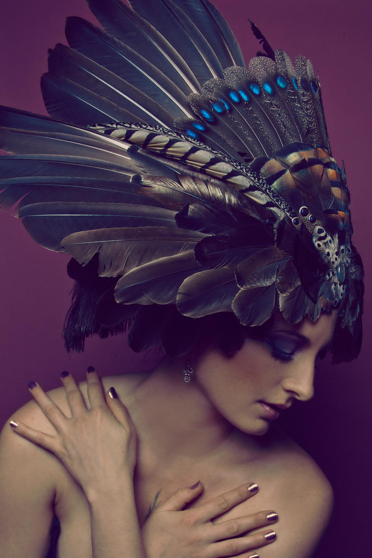 Earthen Iridescence Headdress by serpentfeathers