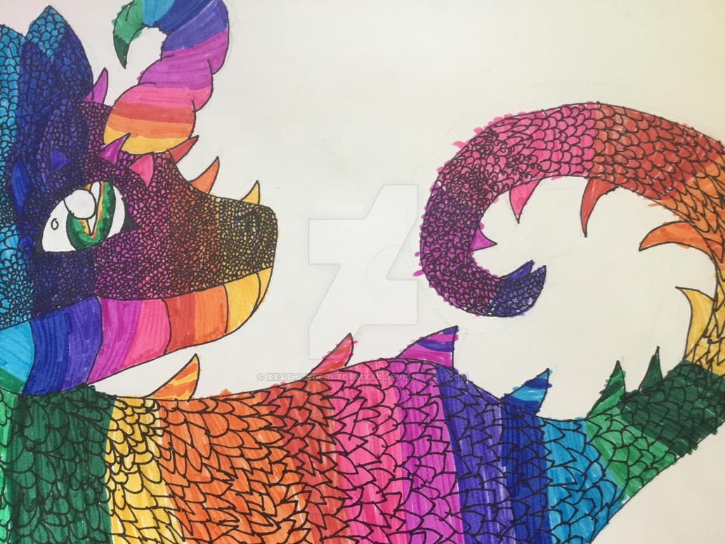 Rainbow dragon by xXXThunderstormXXx