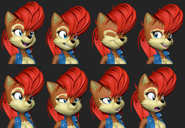 Sally Acorn 3D Expressions