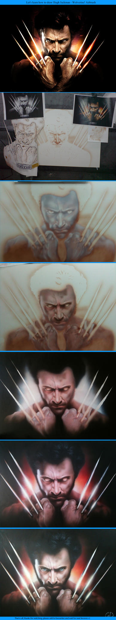 How to draw Hugh Jackman Wolverine. Step-by-step by Lutique