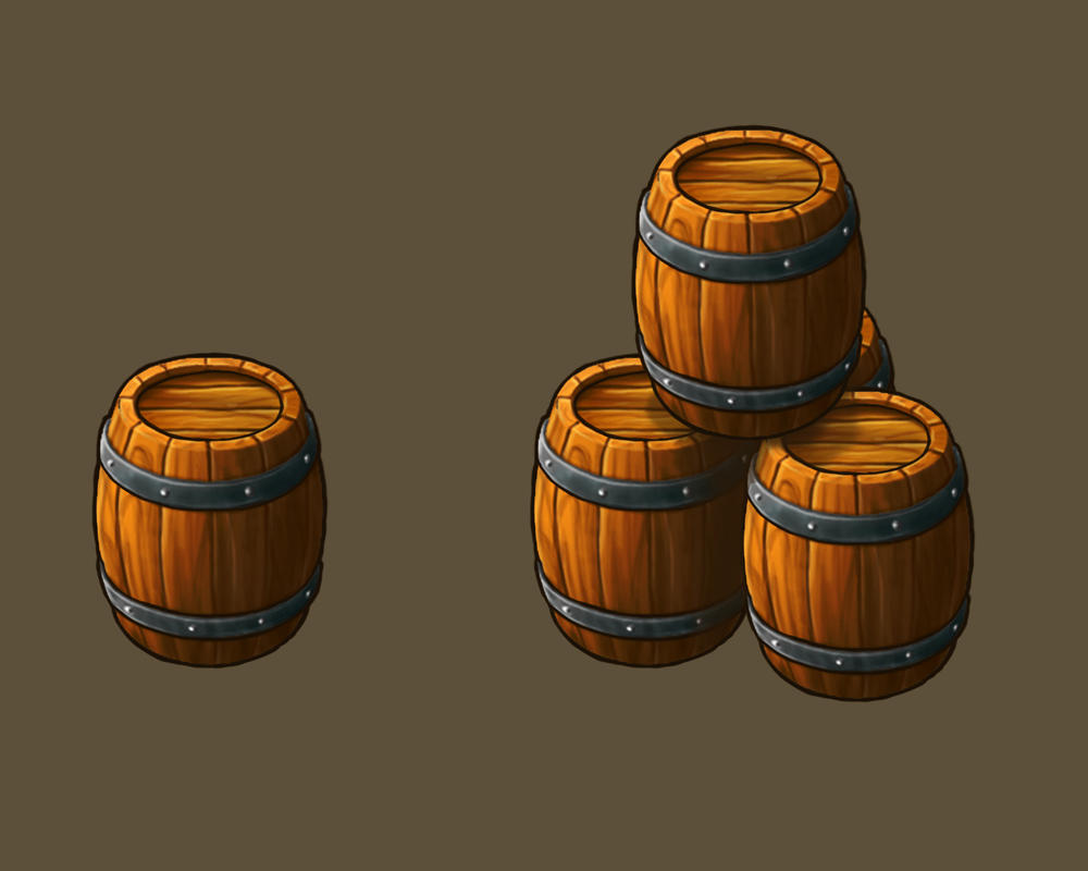 Barrel as element for game by Lutique