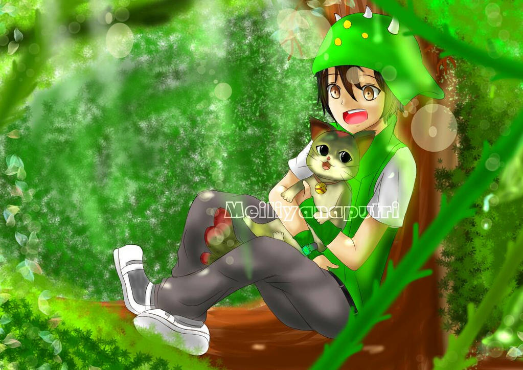 BoBoiBoy Daun(Leaf) and Cattus [Art Contest] by Meiliyanaputri