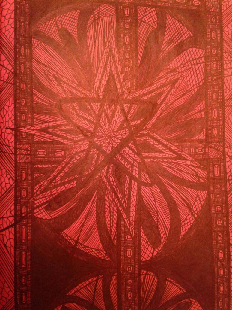 red diamond star circle  by artistartstudio