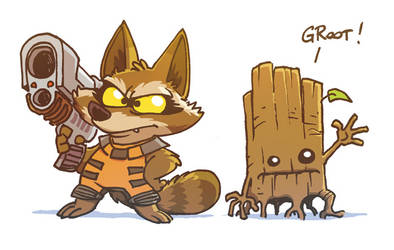 rocket and groot by poubelle-de-dav