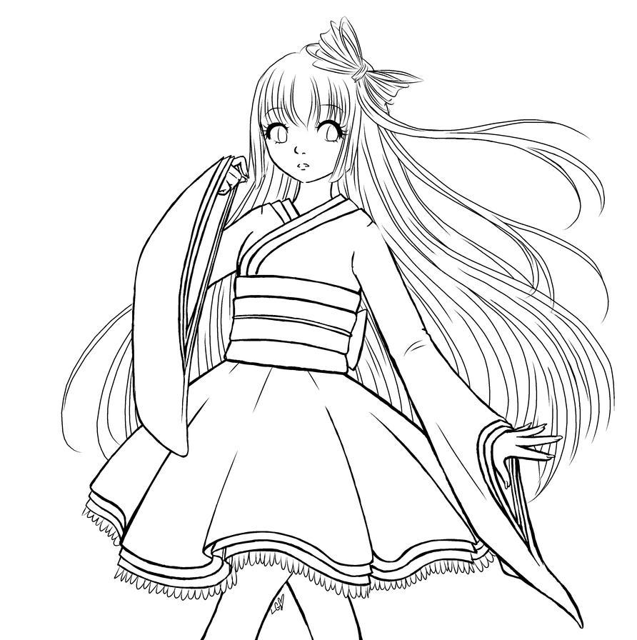 Kimono Girl WIP by LeGray on DeviantArt