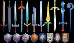 Zelda Swords and Shields by Doctor-G