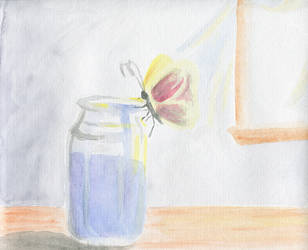 Butterfly on a Jar of Paint So Cute by RichiePoop