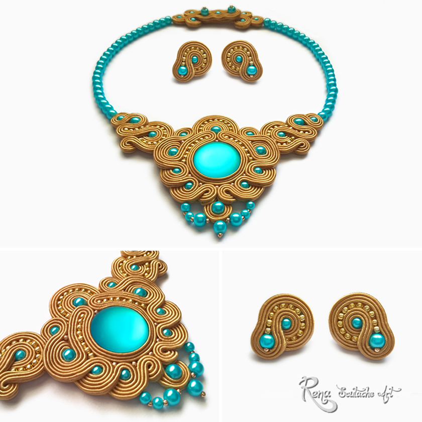 Golden Turquoise Moon Soutache Necklace by reneev