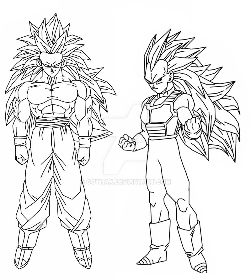 Goku and vegeta ssj3 by gothax on deviantart for Vegeta coloring pages