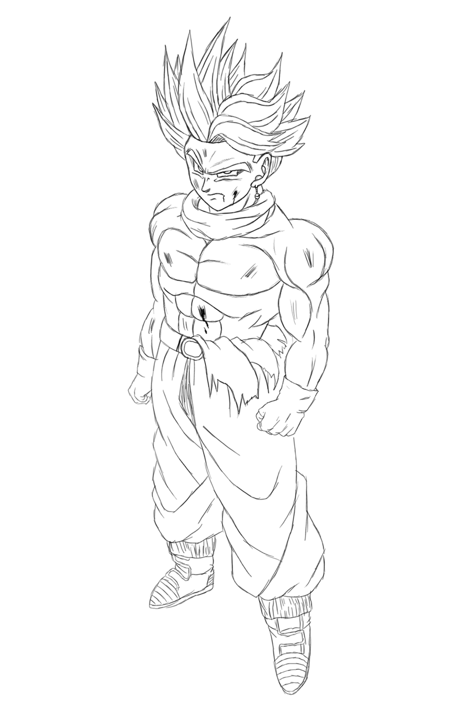 Easy Kid Vegeta Non Color Drawings Front View