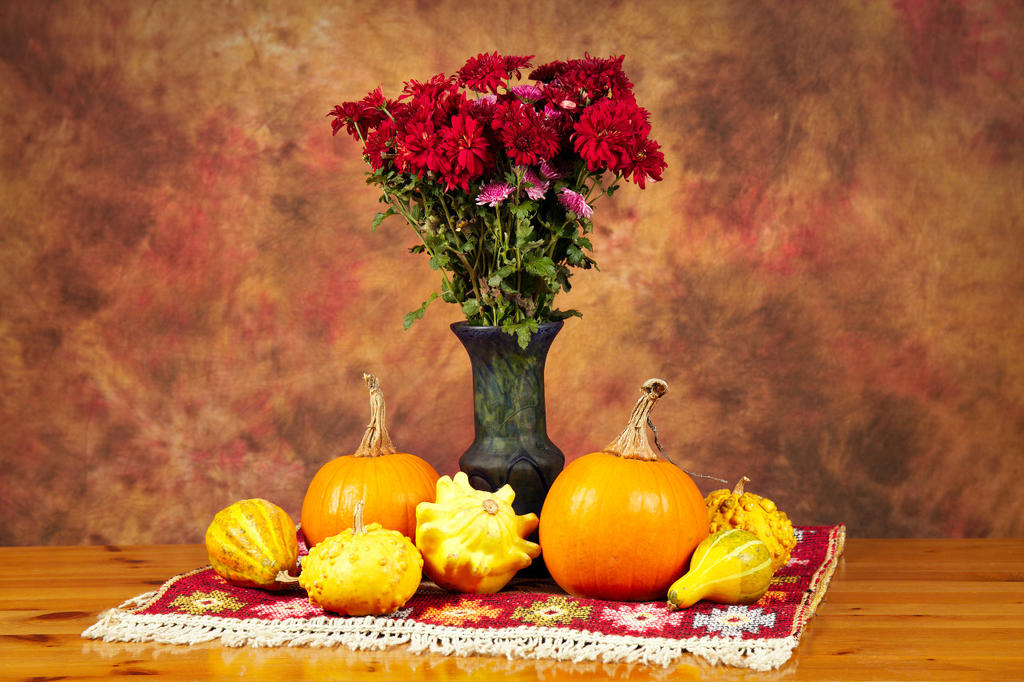Sill life with flowers and pumpkins by nicubunu