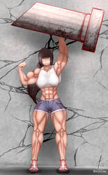 a feat of strength performed by a very strong girl by oneeris