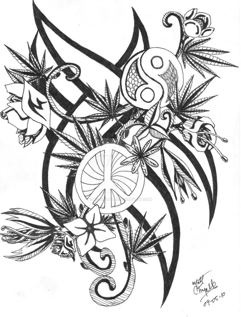 Flowers And Weed Plants By Mc Chapelle On Deviantart Trippy Pot Leaf Coloring Pages