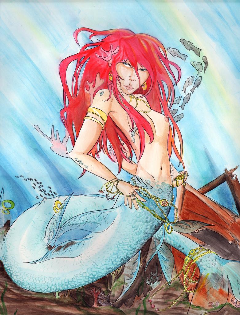 Mermaid Watercolor by thistledownhair on DeviantArt