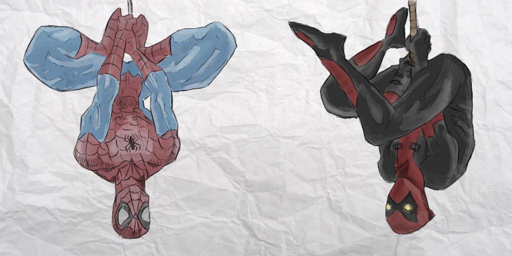 Spiderman Vs Deadpool By Sophies Doodles