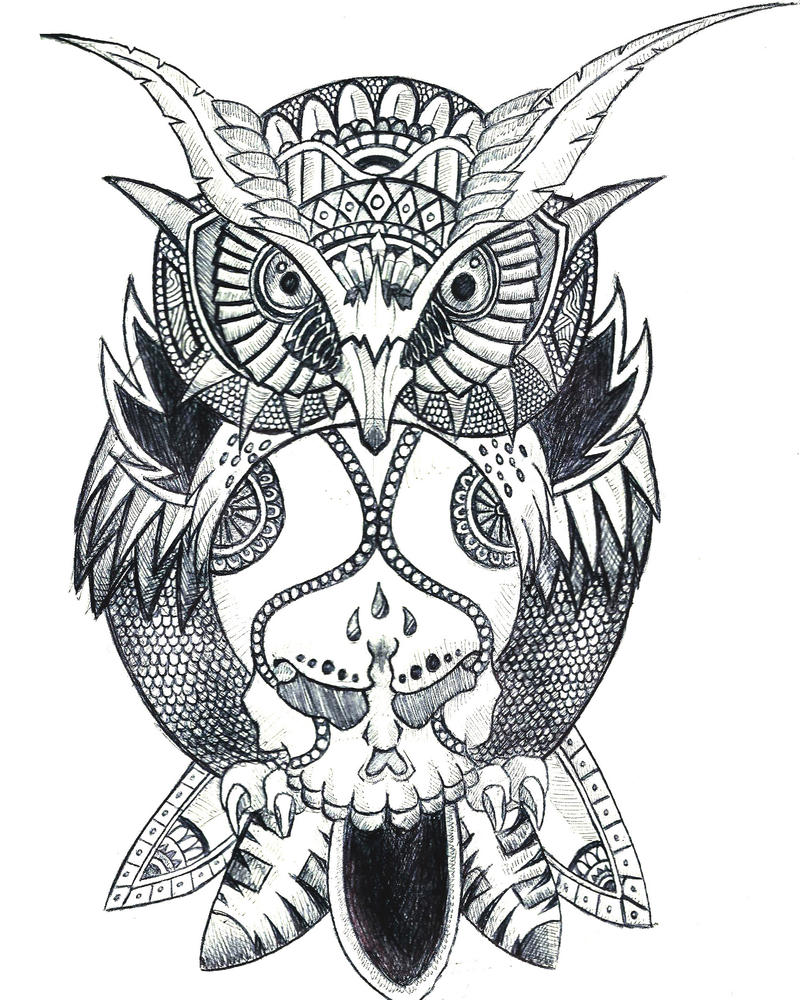 Owl Tattoo Drawings for Girls