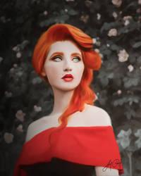 Red like Roses (Digital Drawing) by lunaroveda