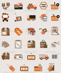 Flat Vector Business Shopping Icon Illustrations