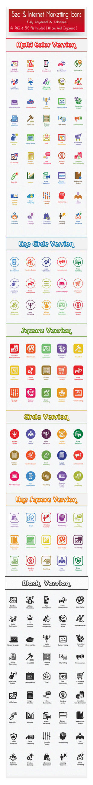 Flat SEO Icons and Internet Marketing Icons by CURSORCH
